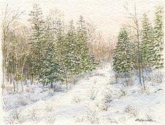 Winter+Forest++Art+Print+of+Watercolor+by+trowelandpaintbrush,+$15.00