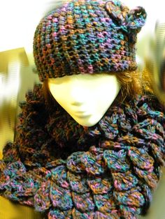Crochet Harlequin Dragon scale Scarf and Matching Hat by TheSnarkySkein.