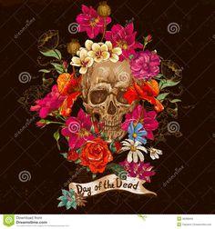 Image from http://thumbs.dreamstime.com/z/skull-flowers-day-dead-file-eps-format-36296849.jpg.