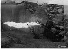 Finnish flamethrower eliminates the target bunker. 5 July 1941.