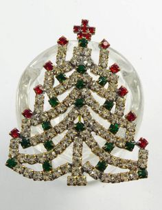 Red, Green and Clear Rhinestone Czech Glass Christmas Tree Brooch, Xma – Vintage Lane Jewelry