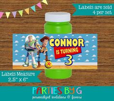 Toy Story Buzz Woody Bubble Labels Birthday Party by PartiesByG