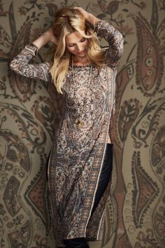 East/West Fusion! Love it! Printed Stretch Silk Tunic Dress | Calypso St. Barth