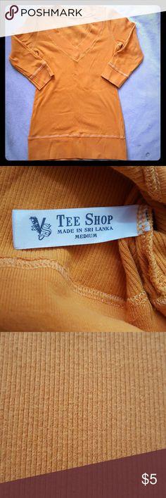 VS 3/4 Sleeve Shirt Orange Victoria's Secret 3/4 Sleeve Shirt 98% Cotton 2% Spandex Victoria's Secret Tops Tees - Short Sleeve