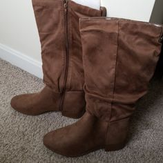 d7ec71f04ae03 Maurices Shoes | Maurices Tall Suede-Like Brown Boots | Color: Brown/Tan