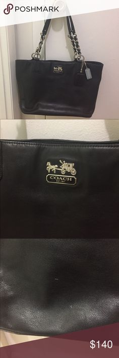 Black leather Coach handbag Beautiful black leather Coach handbag. Good size and in very good condition. 2 small spots on the back of purse but hardly noticeable Coach Bags Shoulder Bags