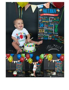 first birthday cake smash // primary colors cake smash // Blue Bird Photography Clarkston MI
