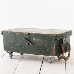 This Vintage Wooden Tool Box has been given a set of castors and now it's found a new life as a brilliant industrial style coffee table.