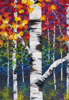 """Not An Ordinary Day"" 48""x30"" Acrylic Fall Tree Painting on Canvas. MELISSA MCKINNON Contemporary Abstract Landscape Artist features BIG COLOURFUL PAINTINGS of Aspen & Birch Trees, Rocky Mountains and stunning views of the Canadian prairies, big skies and ocean beaches. Western Art available for sale. (Detail Image of colourful red, orange and yellow leaves, tree trunk and impasto paint texture)"