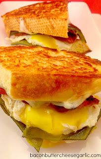 Chile Rellenos Grilled Cheese!  And, yes, that's a fried egg on it!