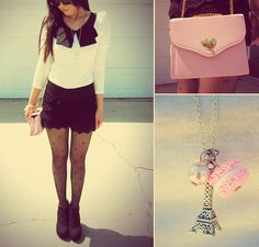 La Belle Époque Contrast Vintage Style Lapel Top, Antoinette Chantilly Tiered Lace Shorts In Noir, Doll House Bow Pattern Tights In Black, Isabelle's Vanity Pearl Charm Bracelet, First Date Heart Clasp Purse With Chain Straps In Ballet Pink, Bonjour Chéri