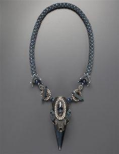 Laura McCabe Mink Skull Spike Necklace