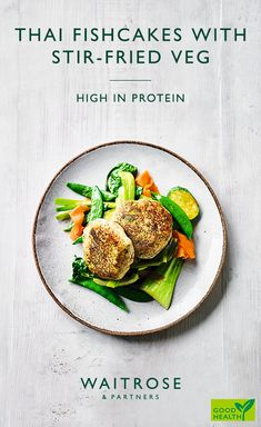 Delicate and delicious. Thai fish cakes with stir-fried veg make a healthier midweek meal. Tap to see the full Waitrose & Partners recipe. Fish Recipes, Vegetable Recipes, Seafood Recipes, Asian Recipes, Vegetarian Recipes, Cooking Recipes, Midweek Meals, Easy Meals, Thai Fish Cakes