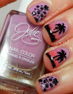 A Cute Tropical Look with Julie G Dream in Pretty and Julie's Fave.... would work with a lot of different water decals and ombre..... think i just got an idea to do sunset backgrounds with a variety of trees. plus this on is cute too.