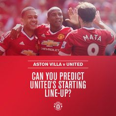 Who'll start for #mufc against Villa? Predict the team for the chance to win a signed shirt: http://bddy.me/1PaDts6