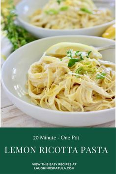 20 Minute Lemon Ricotta Pasta!   Pasta, lemon, ricotta, garlic and parmesan all  mixed together with a little magic starchy pasta water for a delicious pasta dinner any night of the week! Vegetarian Recipes Dinner, Supper Recipes, Italian Chopped Salad, Easy Pasta Salad Recipe, Ricotta Pasta, Best Pasta Recipes, Dinner Is Served, Linguine, Tortellini