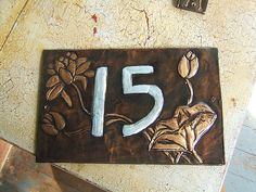 Copper Waterlily House Number by KopperKitty on Etsy