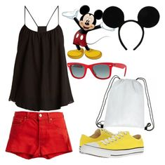 Disneybound - Mickey Mouse by adrian-brokie on Polyvore featuring polyvore fashion style Loup Charmant RE/DONE Converse Ray-Ban clothing