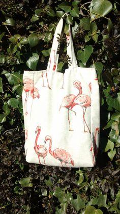 Bolsa de loneta hecha a mano con estampado de flamencos