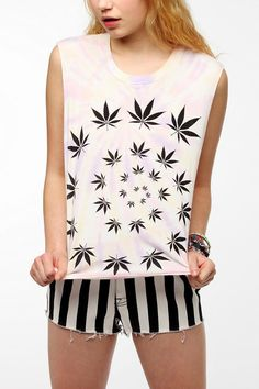 Truly Madly Deeply Trippy Leaf Muscle Tee #urbanoutfitters