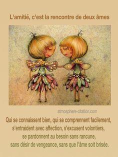 L'amitié,c'est la rencontre de deux âmes  Trouvez encore plus de citations et de dictons sur: http://www.atmosphere-citation.com/amitie/lamitiecest-la-rencontre-de-deux-ames.html?