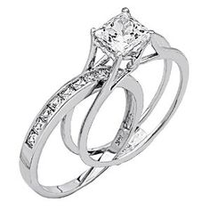 14k Yellow Or White Gold Solid Princess Square Engagement Ring Wedding Band Set