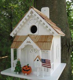 Season's Tweetings Birdhouse With Seasonal Decorations
