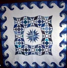 Storm at Sea quilt with wave border - lovely variation of this pattern