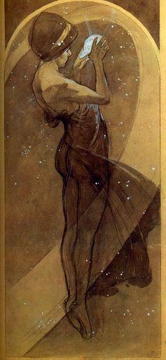 """""""North Star"""" (1902) d'Alfons Maria Mucha (1860-1939) affichiste et peintre tchèque, fer-de-lance du style Art nouveau. / trait / croquis / étoiles / magie / énergie"""