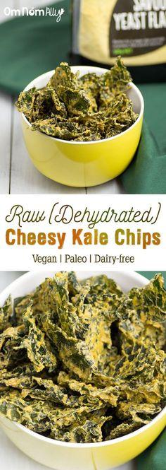 Raw (Dehydrator) Cheesy Kale Chips @OmNomAlly - Vegan, Paleo & Dairy Free