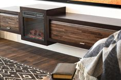 Floating Fireplace Wall Mount TV Stand - ECO GEO Espresso - Woodwaves Fireplace Console, Floating Fireplace, Fireplace Wall, Fireplace Design, Wall Mount Tv Stand, Floating Tv Stand, Electric Fireplace Tv Stand, Space Tv, Block Wall