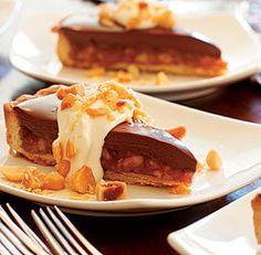 Chocolate Caramel Tart with Macadamia Nuts & Crème Fraîche Whipped Cream
