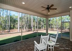 Enjoy the view of this peaceful, scenic back yard from the screened porch. Plan #1302 - The Bluestone. http://www.dongardner.com/plan_details.aspx?pid=4413. #Outdoor #Screened #Porch