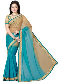 Tantalizing Teal Blue and Beige Saree