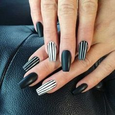 Black Striped Nail Design