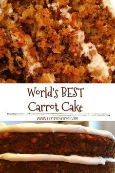 Easy and incredibly moist carrot cake recipe made with real ingredients. This from-scratch carrot cake is so easy, it is ideal for beginners. It has a sweet cream cheese frosting. The flavor of this homemade carrot cake recipe is delightful! Homemade Carrot Cake, Easy Carrot Cake, Moist Carrot Cakes, World's Best Carrot Cake Recipe, Carrot Cake Recipe With Raisins, Old Fashioned Carrot Cake Recipe, Carrot Cake Recipe From Scratch, Carrot Spice Cake, Recipes
