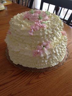 front view of Ruffle Birthday cake