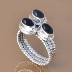 925 SOLID STERLING SILVER EXCLUSIVE BLACK ONYX RING 5.47g DJR7379 #Handmade #Ring