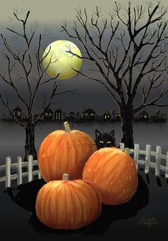 Pumpkin Print featuring the digital art Under The Full Moon by Arline Wagner