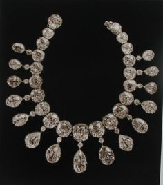 """THE ROMANOVS JEWELRY ~ This gorgeous necklace consists of 21 diamond cabochon framed in silver with gold rail tack; diamonds connected by silk threads that provide more flexibility. 15 pendants of the necklace form a vintage pear shaped diamonds, topped by smaller diamonds, faceted between the 17th and 18th centuries. Total weight of the stones of Indian origin is 475 old carats. Some of them have a bluish or pinkish hue that enhances the glamor of the product."""