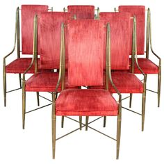 Set of Six Mastercraft Faux Bamboo Brass and Velvet Dining Chairs | From a unique collection of antique and modern dining room chairs at https://www.1stdibs.com/furniture/seating/dining-room-chairs/