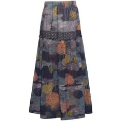 See By Chloé Dotted tree-print crepe skirt (500 CAD) ❤ liked on Polyvore featuring skirts, navy multi, navy skirt, navy blue maxi skirt, polka dot skirt, navy blue polka dot skirt and crepe skirt