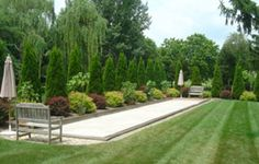Bocce court builders in New Jersey Outdoor Retreat, Backyard Retreat, Backyard Patio, Backyard Ideas, Landscaping Around Patio, Bocce Ball Court, Front Yard Design, Outside Patio, Backyard Makeover