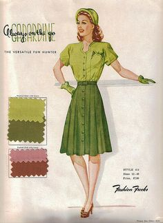 1946 Fashion Frocks Sample card - wonderful colour palette inspiration for a vintage St. Patrick's Day outfit. #fashion #1940s #vintage