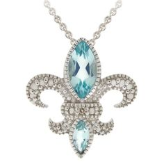 Sterling Silver Diamond Accent Fleur De Lis Necklace