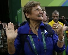 U.S. gymnastics team coordinator Martha Karolyi waves to the audience at the end of the artistic gymnastics women's qualification at the 2016 Summer Olympics in Rio de Janeiro, Brazil, Sunday, Aug. 7, 2016. (AP Photo/Julio Cortez)