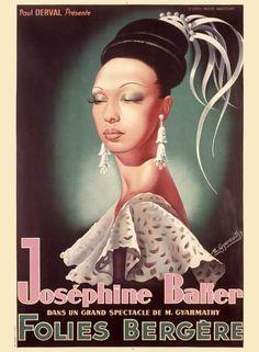 Josephine Baker  Art Print by Vintage