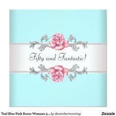 Fiesta del cumpleaños de la mujer rosada azul de