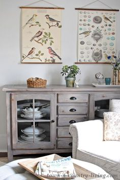 spring home tour, spring decor, botanical prints, rustic cabinet, farmhouse style