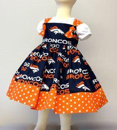 Denver Broncos girls dress NFL fan apparel by SoSoHippo on Etsy Denver Broncos Football, Go Broncos, Broncos Fans, Nfl Fans, Girls Party Dress, Baby Dress, Broncos Memes, Cute Dresses, Girls Dresses